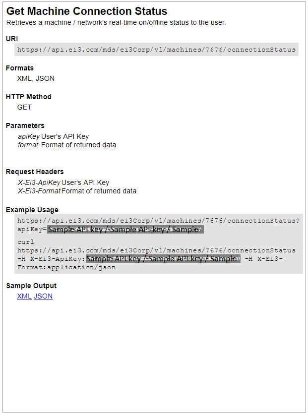 Where can I find an API call for a machine? – ei3 Knowledge